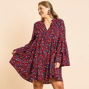 🌸Animal Print Oversize Bell Sleeve V-neck Dress